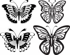 Set Black White Butterflies of a Tattoo Free Vector