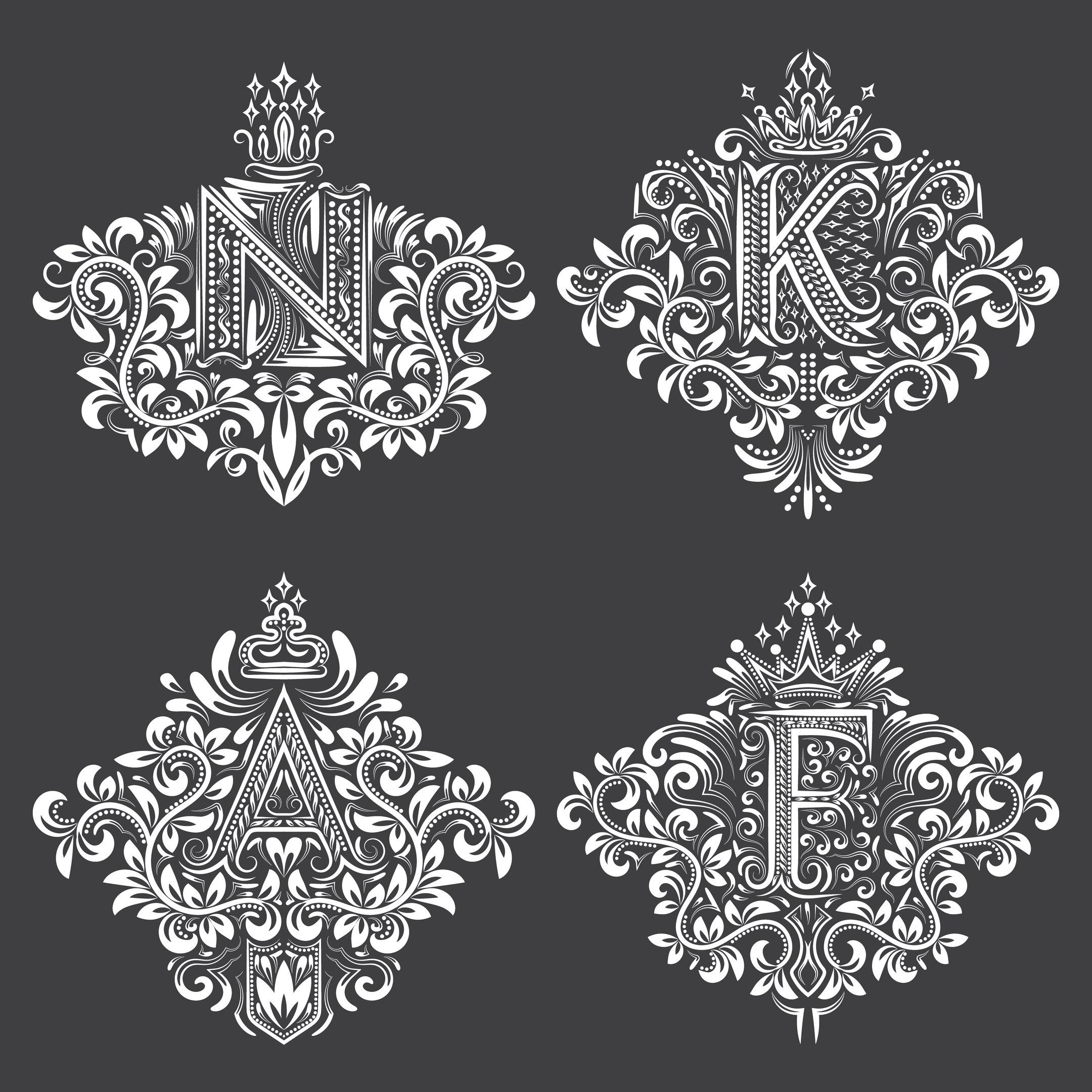 Ornamental Decor Floral Letter Set Free Vector