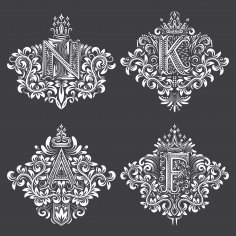 Ornamental Decor Floral Letter Set Free Vector
