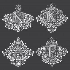 Ornamental Decor Floral Letter Set EPS File