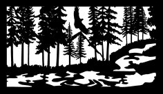 28 X 48 Eagle Stream Wildlife Plasma Art DXF File