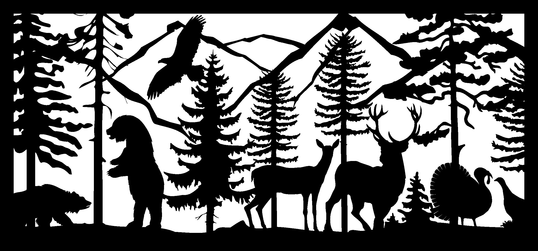 28 X 60 Two Bears Eagle Two Deer Turkeys Plasma Art DXF File