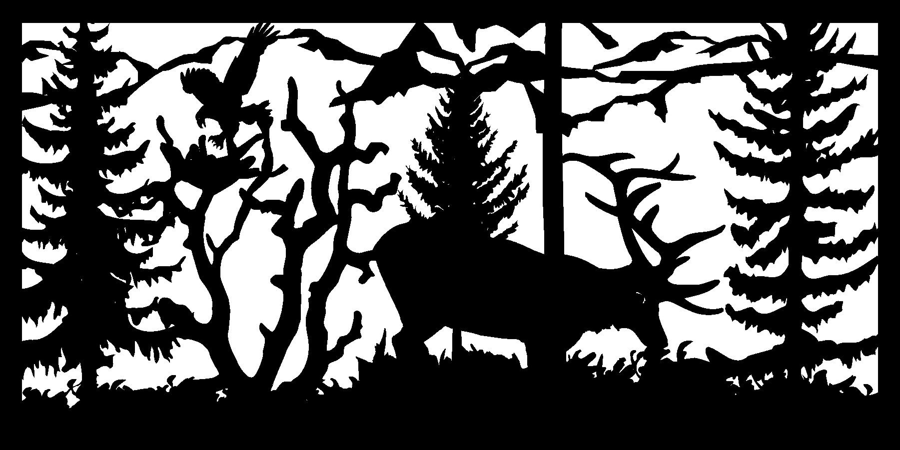 30 X 60 Elk Feeding Eagle Landing Plasma Metal Art DXF File