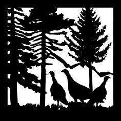 24 X 24 Three Turkeys Plasma Art DXF File