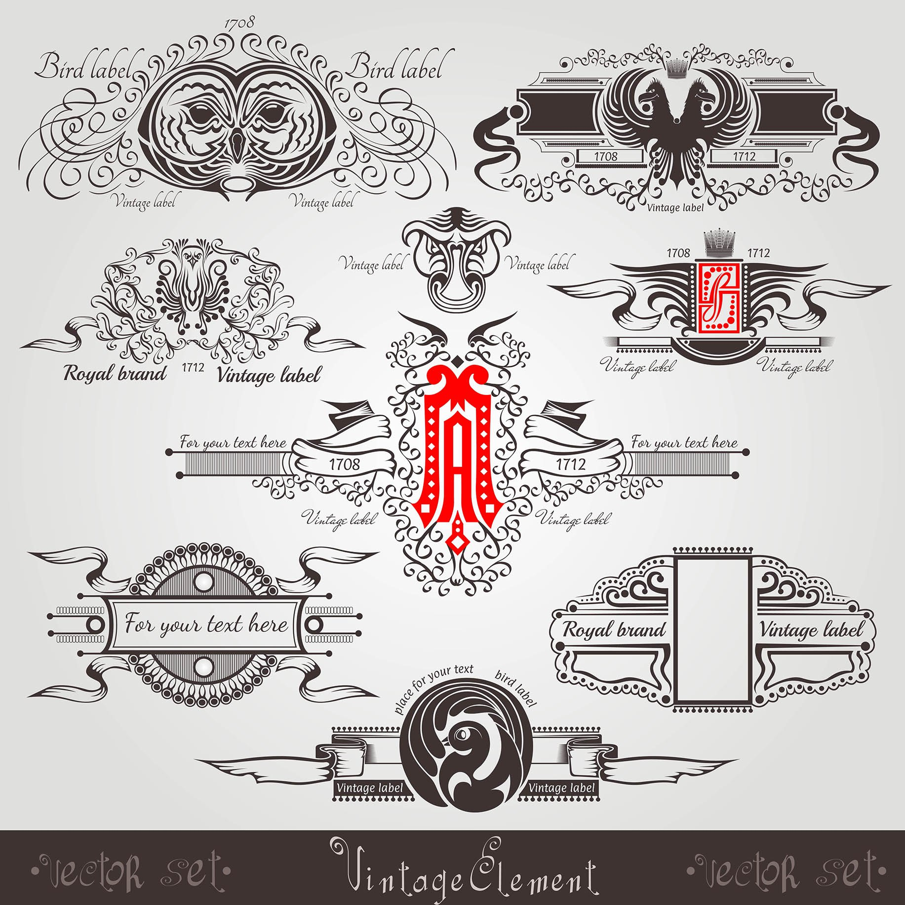 Vintage Engraving Banners With Different Birds Letter And Pattern Free Vector