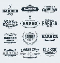 Barber Shop Stickers Free Vector