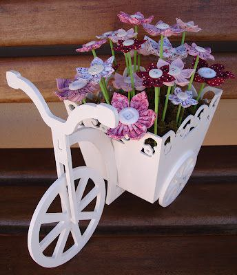 Laser Cut Bicycle with Flower Box 3mm Free Vector