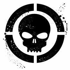 Grunge Skull Symbol Free Vector
