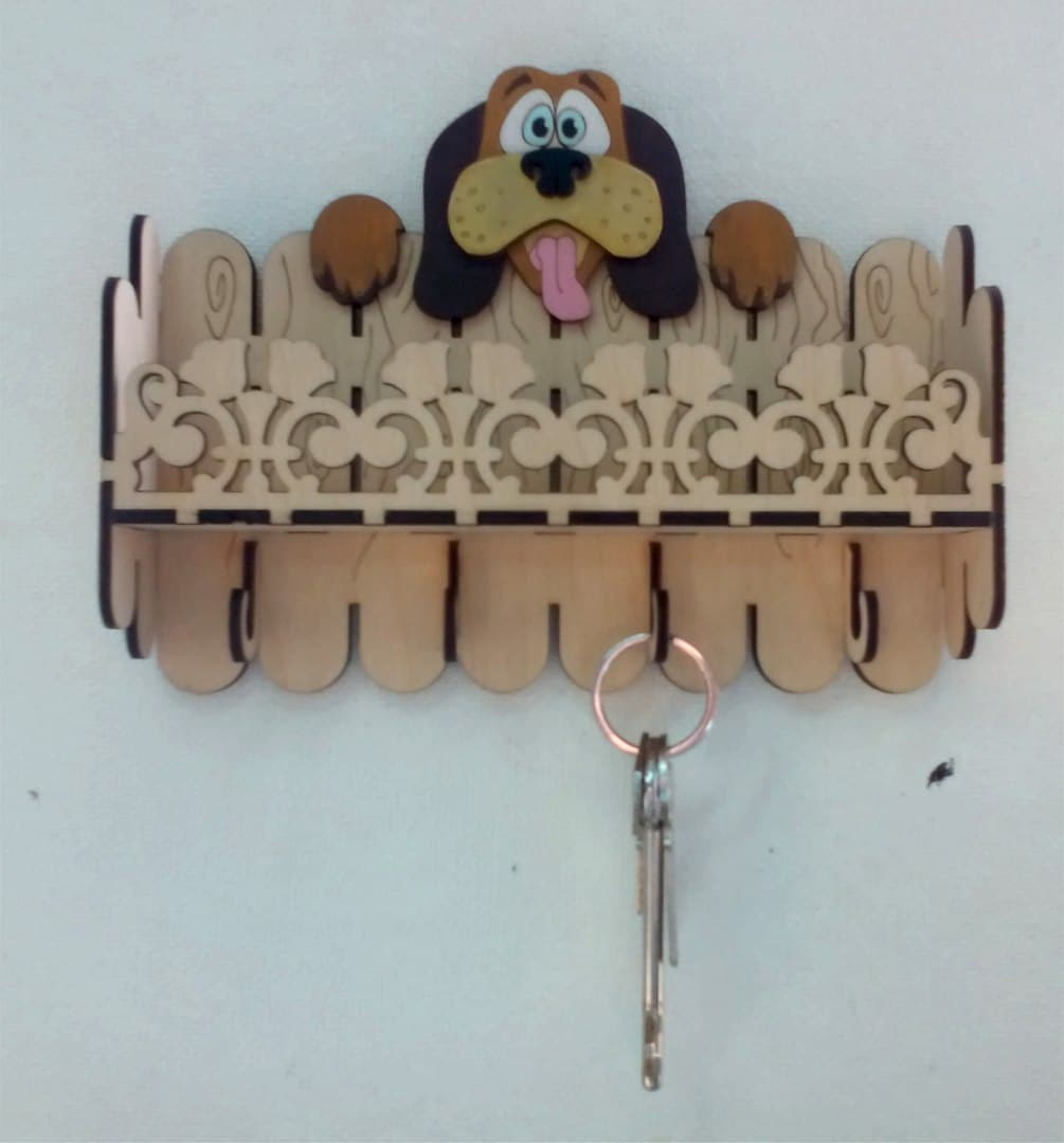 Laser Cut Key Hanger Dog 3mm Free Vector