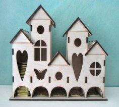 Laser Cut Tea House, Tea Holder Box Castle Free Vector