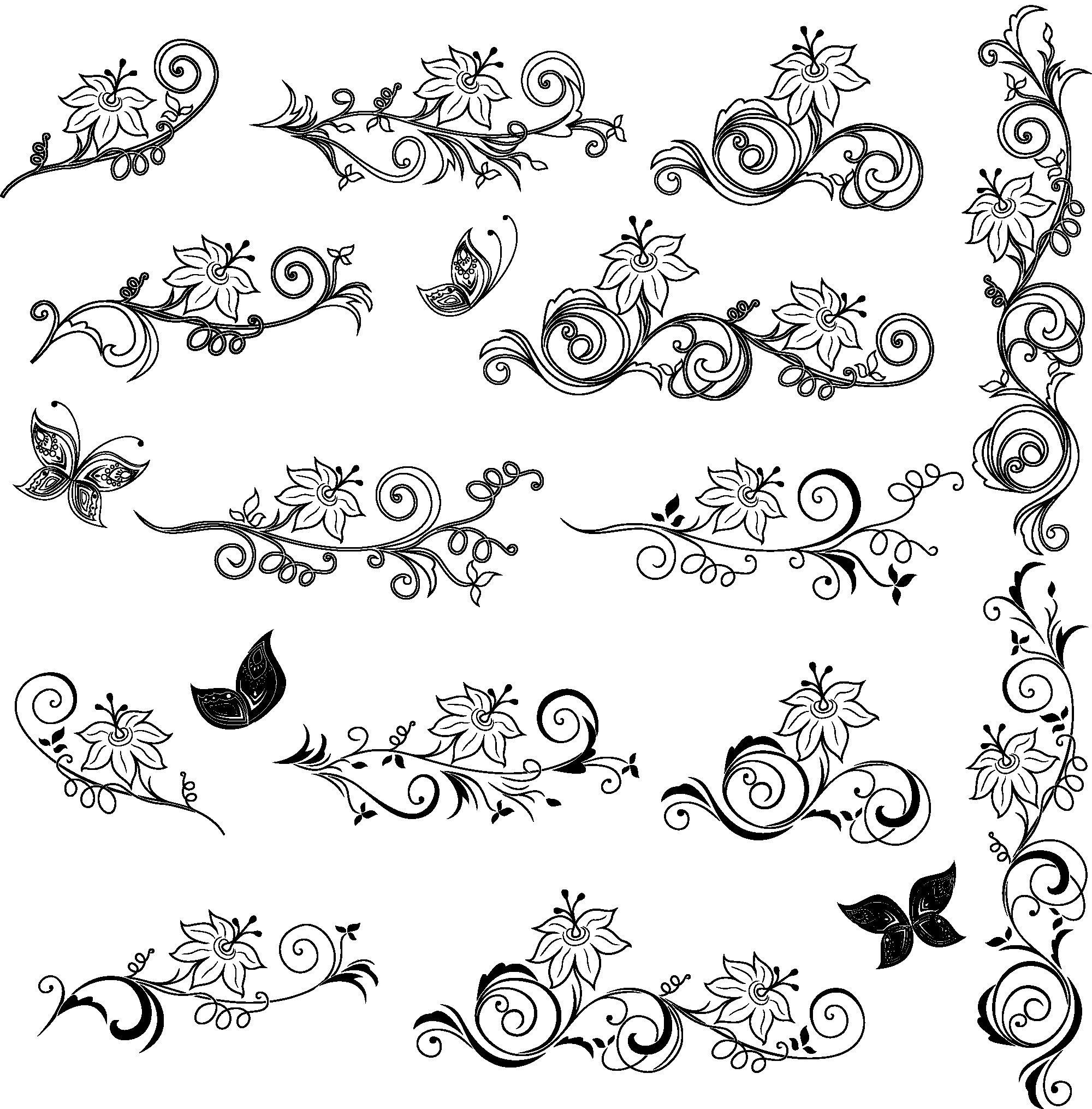 Floral Decor Elements Vector Art Free Vector