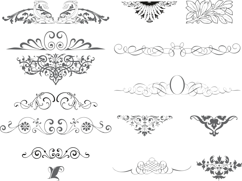 Swirl Ornamental Vector Set Free Vector