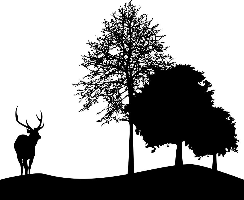 Deer And Tree Silhouette DXF File
