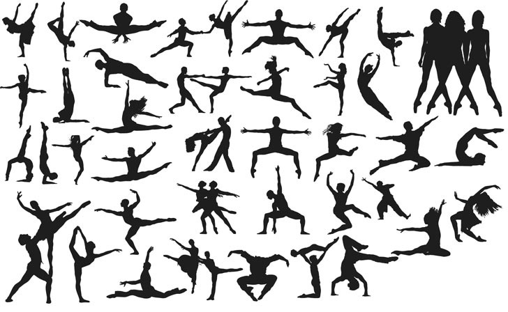 Vector Dancing People Silhouettes Free Vector