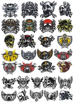 Skull In Motorcycle Helmet Vector Pack CDR File