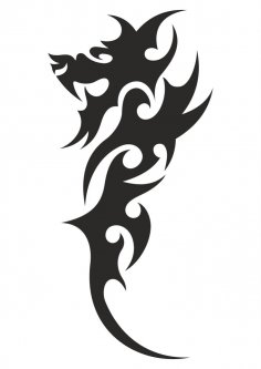 Chinese Tribal Dragon Tattoo Vector CDR File