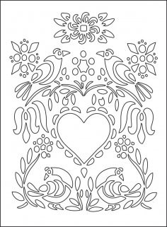 Love Illustration Floral Heart Flowers Birds Vector