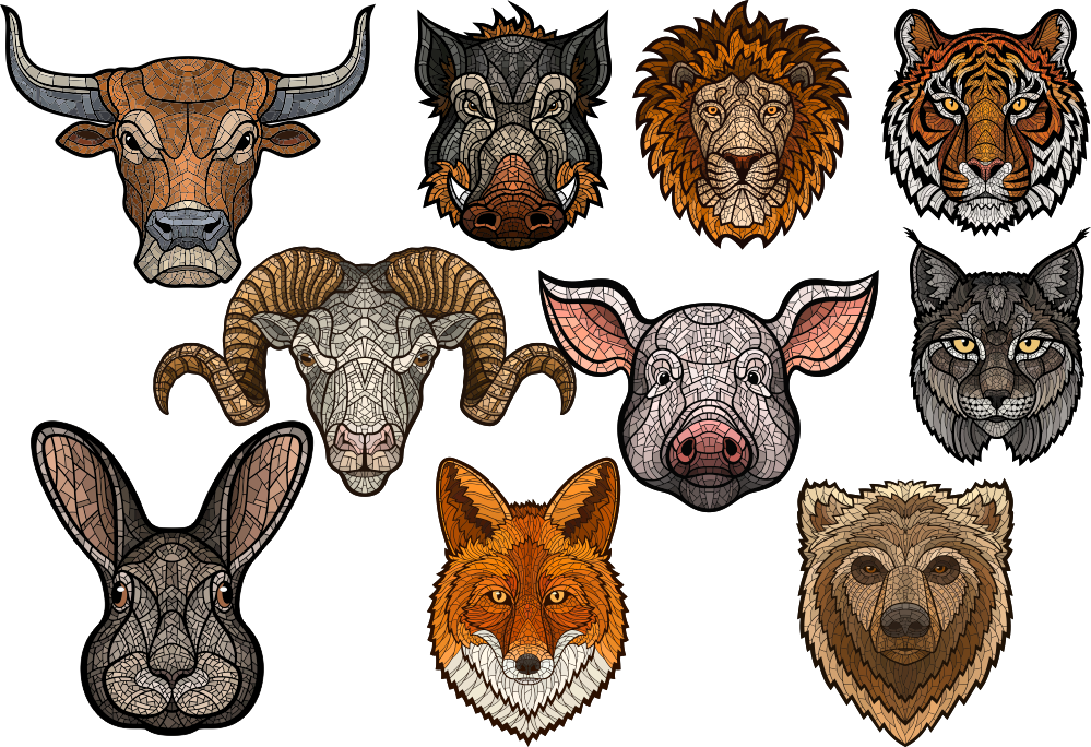 Art Animals Set Free Vector