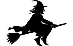 Silhouette witch flying on broomstick dxf File