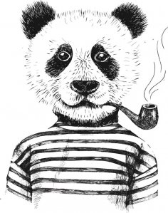 Smoking Panda Vector Art Free Vector