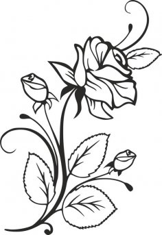 Rose and Rosebuds Beautiful Flower Stencil dxf File