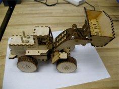 Laser Cut Wood Front End Loader Toy Kit Free Vector