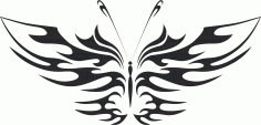 Tattoo Tribal Butterfly Vector Art DXF File