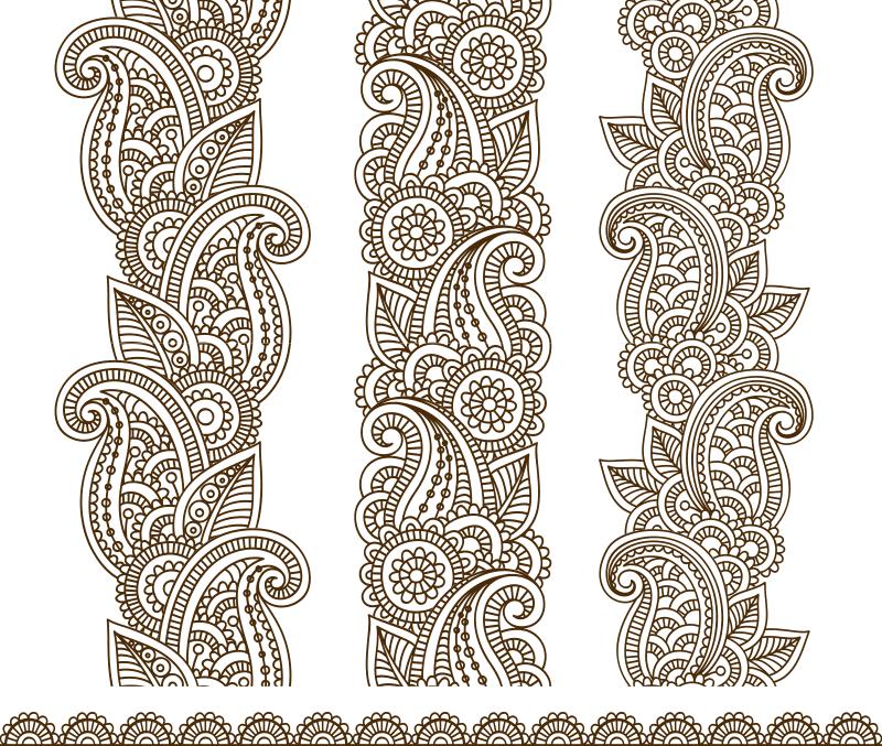 Mehndi Border Designs Vector Art CDR File