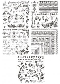 Decor Floral Elements Free Vector