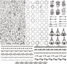 Floral Kit Handdrawn Free Vector