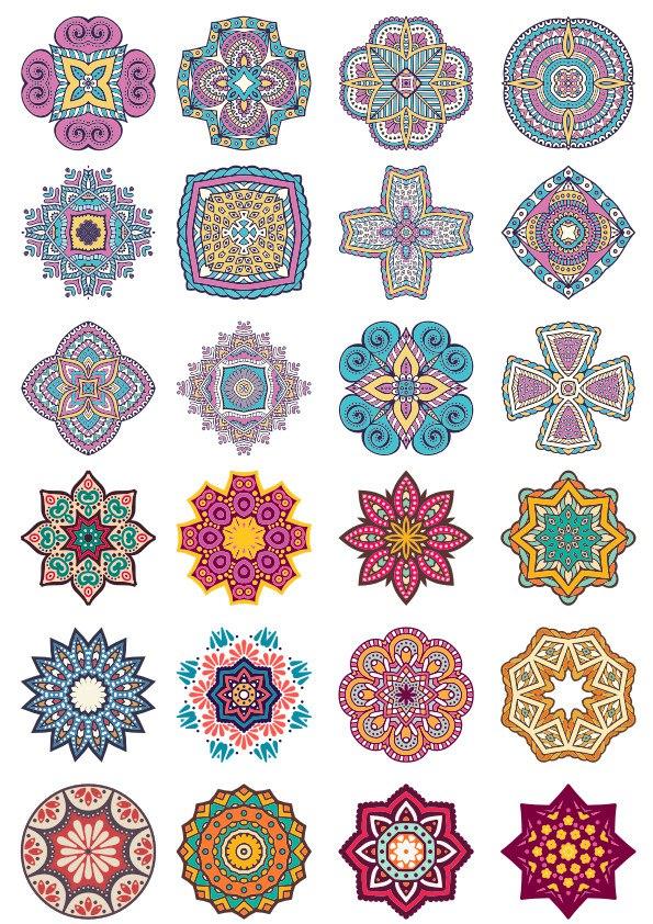 Mandala Flower Doodle Ornaments Set Free Vector