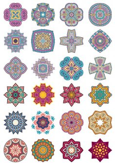 Mandala Flower Doodle Ornaments Set Free Vector