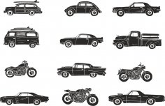Retro Vehicle Vector Pack Free Vector