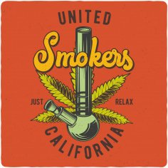 United Smokers Print Free Vector
