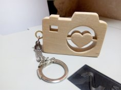 Heart Camera Keychain Laser Cut PDF File