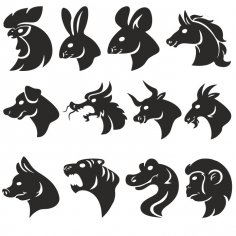 Animals Head Silhouettes dxf File