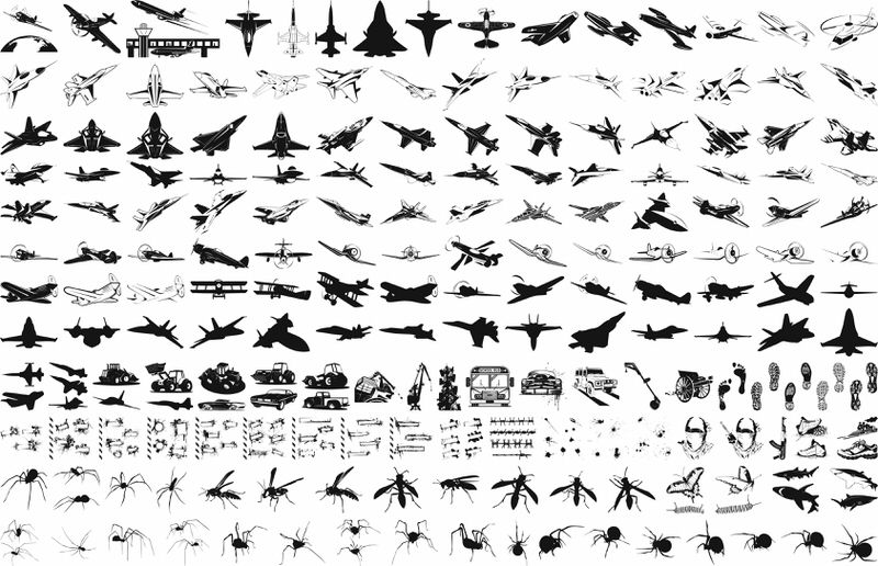 Military plane silhouette vector pack