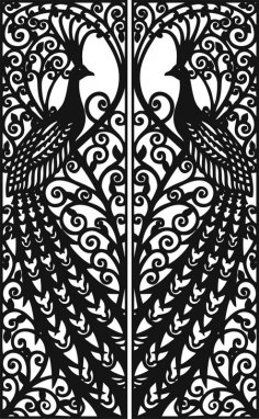 Laser Cut Door Design Peacock Free Vector