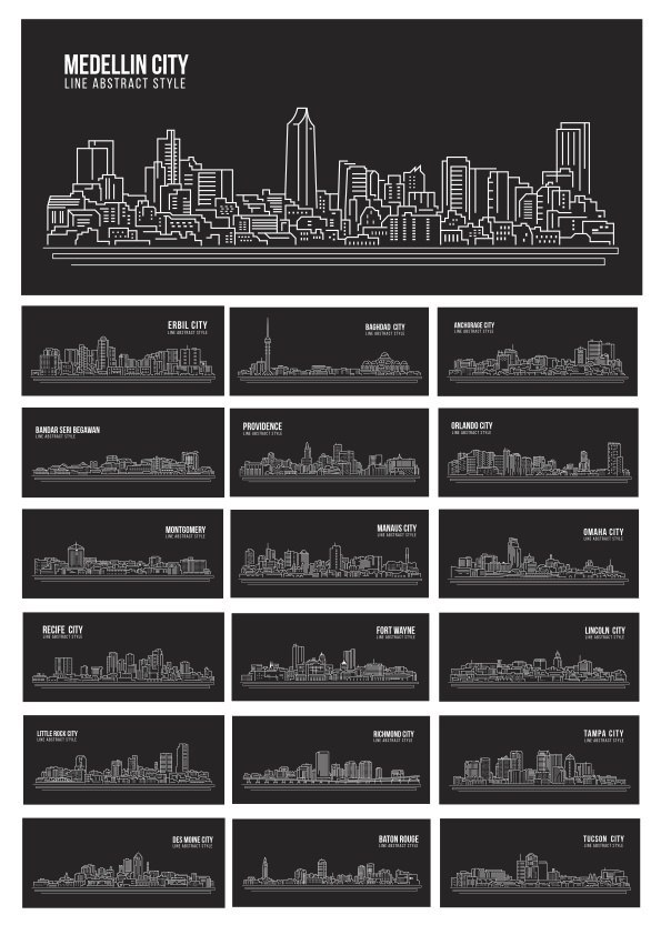 Silhouette Vector World Cities Free Vector
