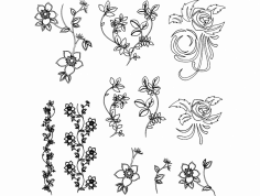 Flowers Vector dxf File