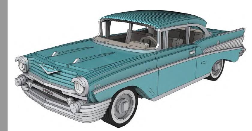 Chevrolet Bel Air 1957 – 3 Mm dxf File