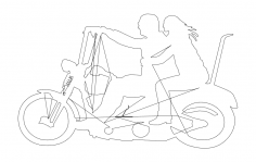 Two People On Motorbike dxf File