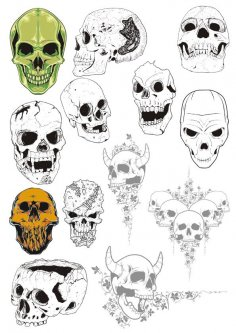 Broken Cracked Skulls Vector Collection CDR File