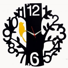 Tree Bird Black Wood Wall Clock Vector Free Vector