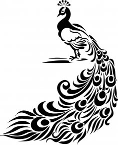 Vintage Peacock Feather Stencil or Vinyl Decal Free Vector