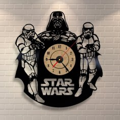 Star Wars Darth Vader Wall Clock and Storm Troopers Free Vector