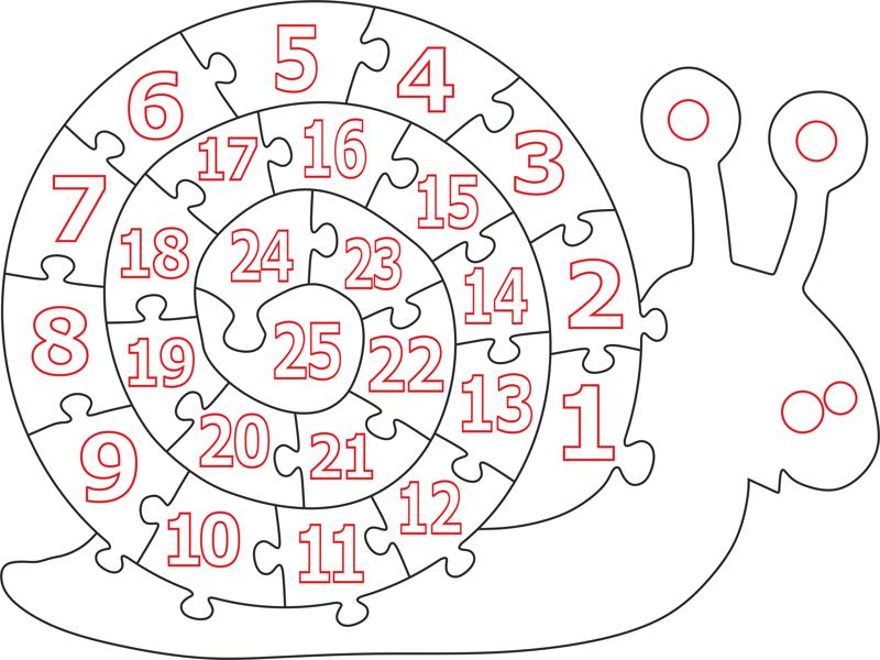 Wooden Number Snail Puzzle