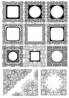 Square Frame Ornamental Vectors Free Vector