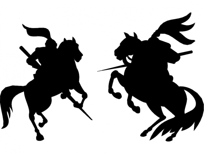 War Horse Silhouette dxf File