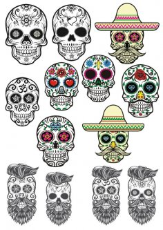 Sugar Skulls Tattoos Free Vector